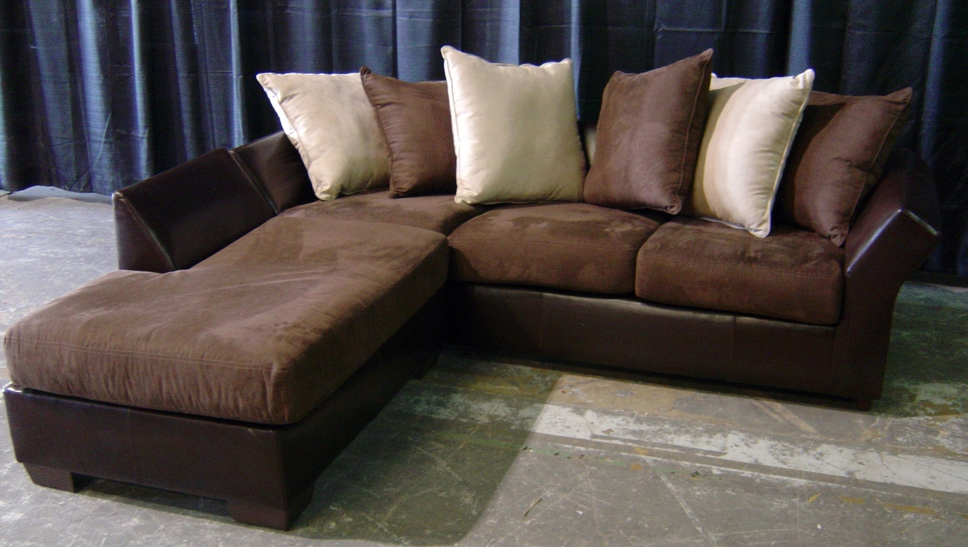 Awesome Leather And Suede Sectional Sofa 63 For With Leather And Pertaining To Leather And Suede Sectional Sofas (View 6 of 10)