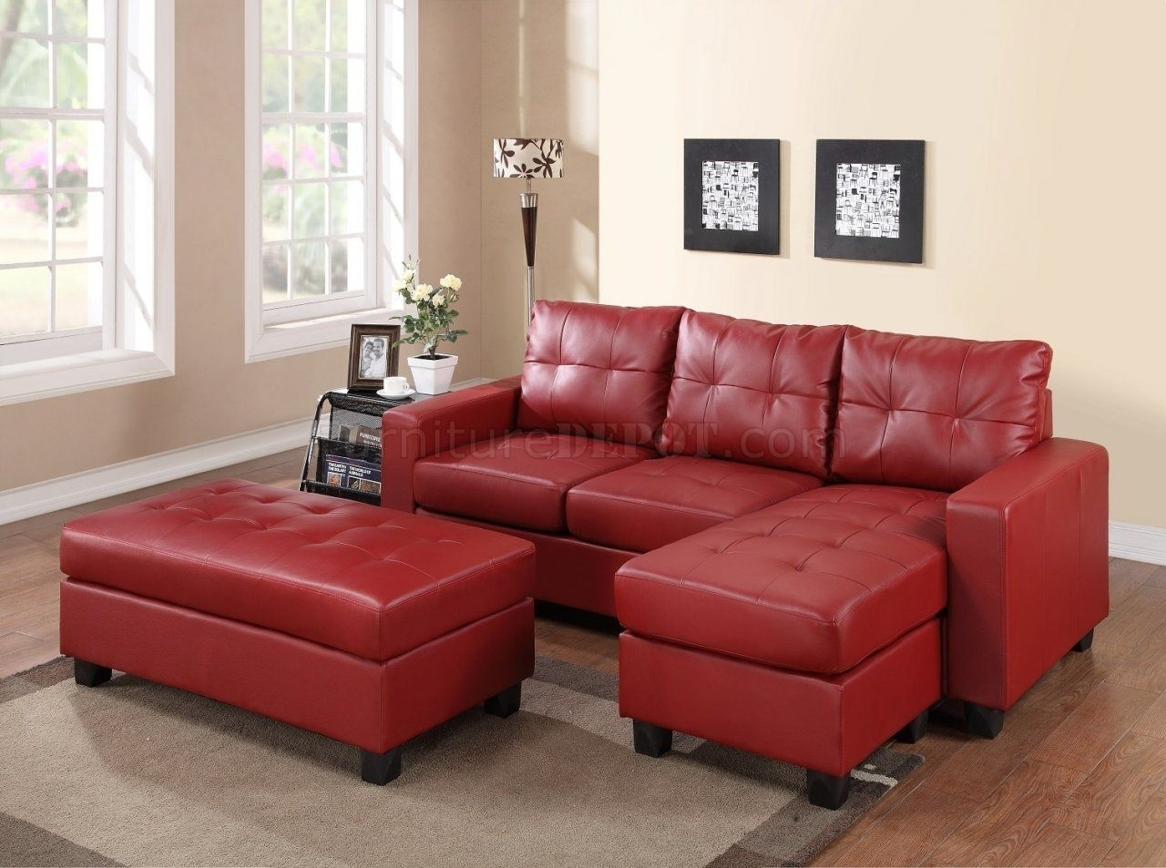 Awesome Sectional Sofa Set In Red Bonded Leather Match Pu Pict For Inside Red Sectional Sofas With Ottoman (View 11 of 15)