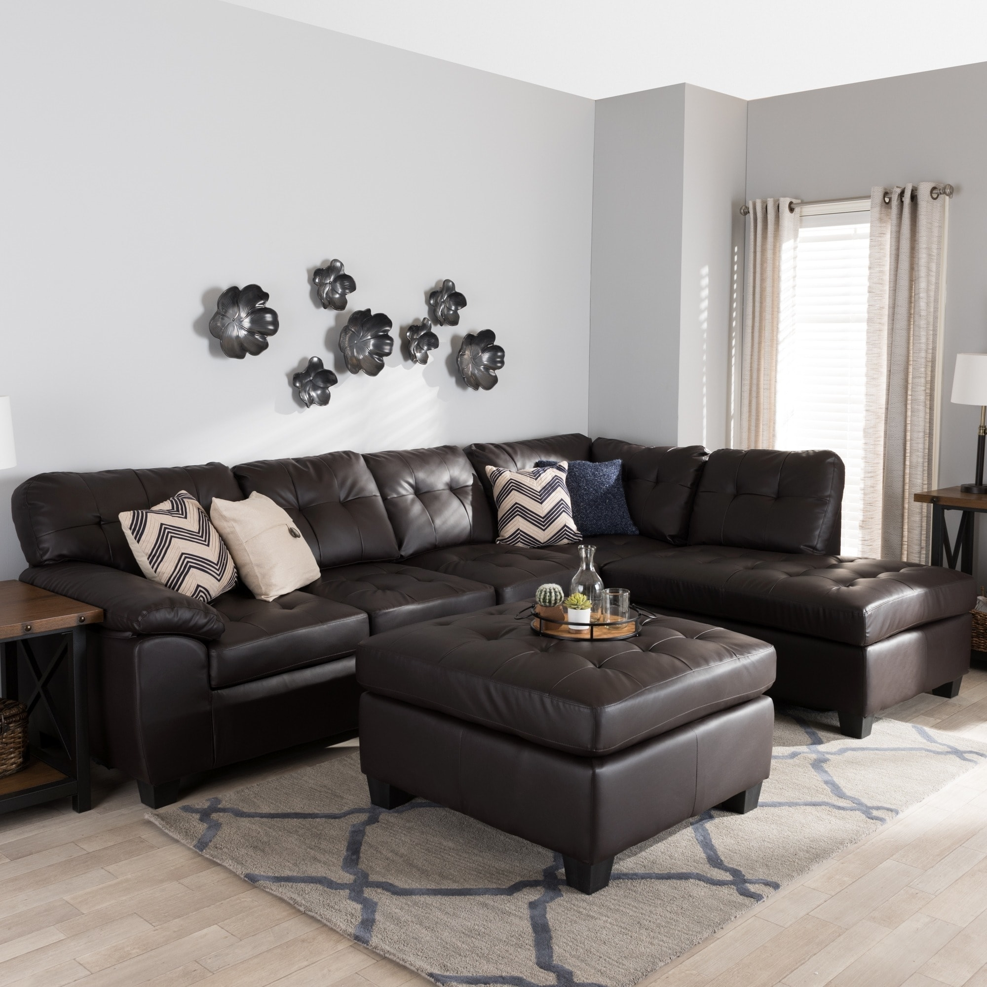Baxton Studio 'mario' Brown Leather Sectional Sofa With Ottoman for Leather Sectionals With Ottoman (Image 2 of 15)