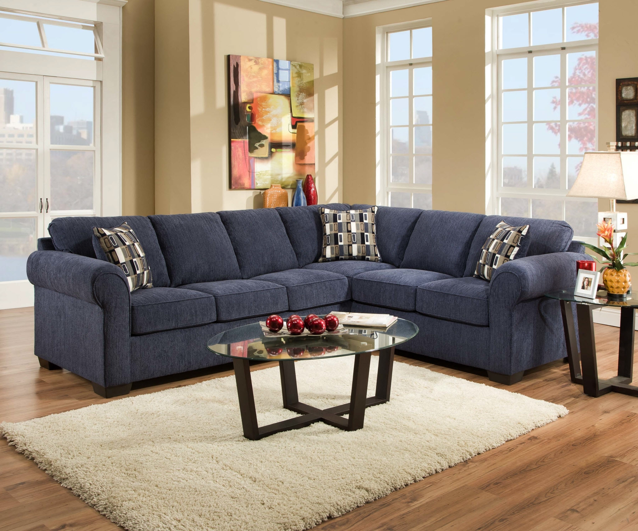 Beautiful Blue Microfiber Sectional Sofa 81 In Sectional Sofas with regard to Ottawa Sectional Sofas (Image 2 of 10)