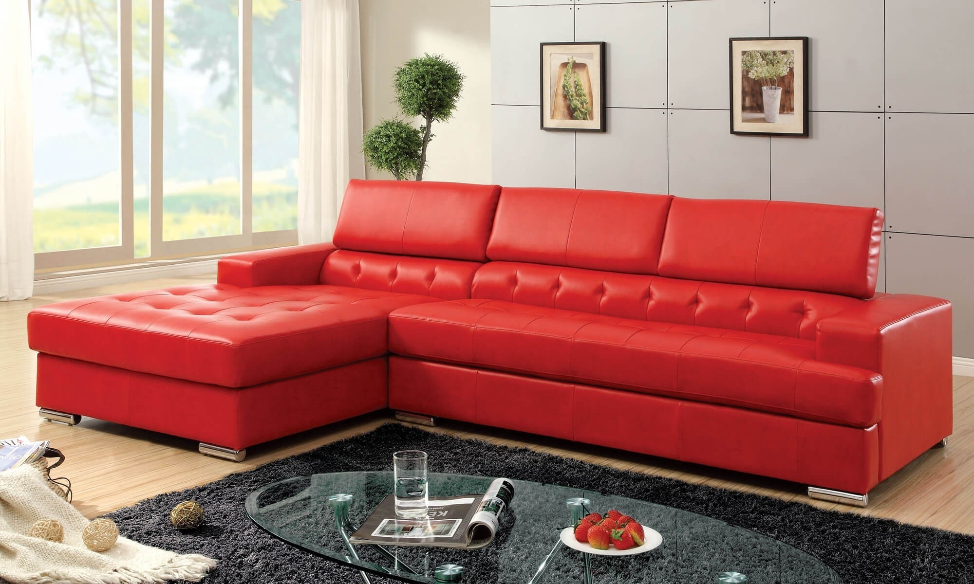 Beautiful Modern Red Leather Sectional Sofa - Buildsimplehome with Red Leather Sectionals With Ottoman (Image 3 of 15)