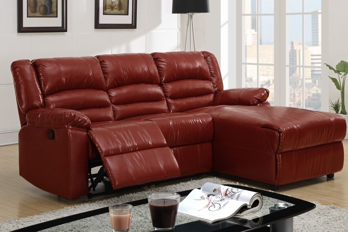 Beautiful Red Leather Sectional Sofa With Chaise Photos for Red Leather Sectional Sofas With Recliners (Image 1 of 15)