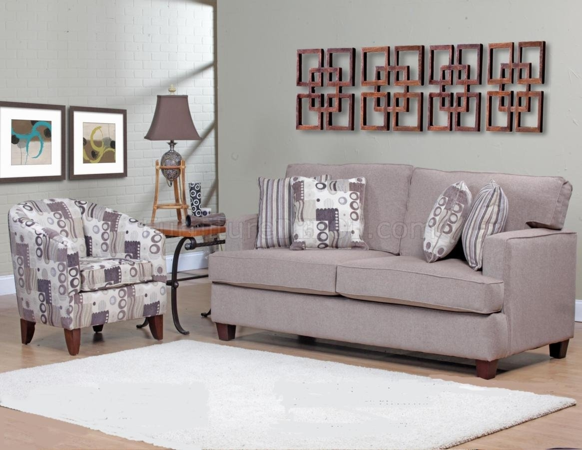 Beige Fabric Modern Sofa & Accent Chair Set W/options Intended For Sofa And Accent Chair Sets (View 3 of 10)