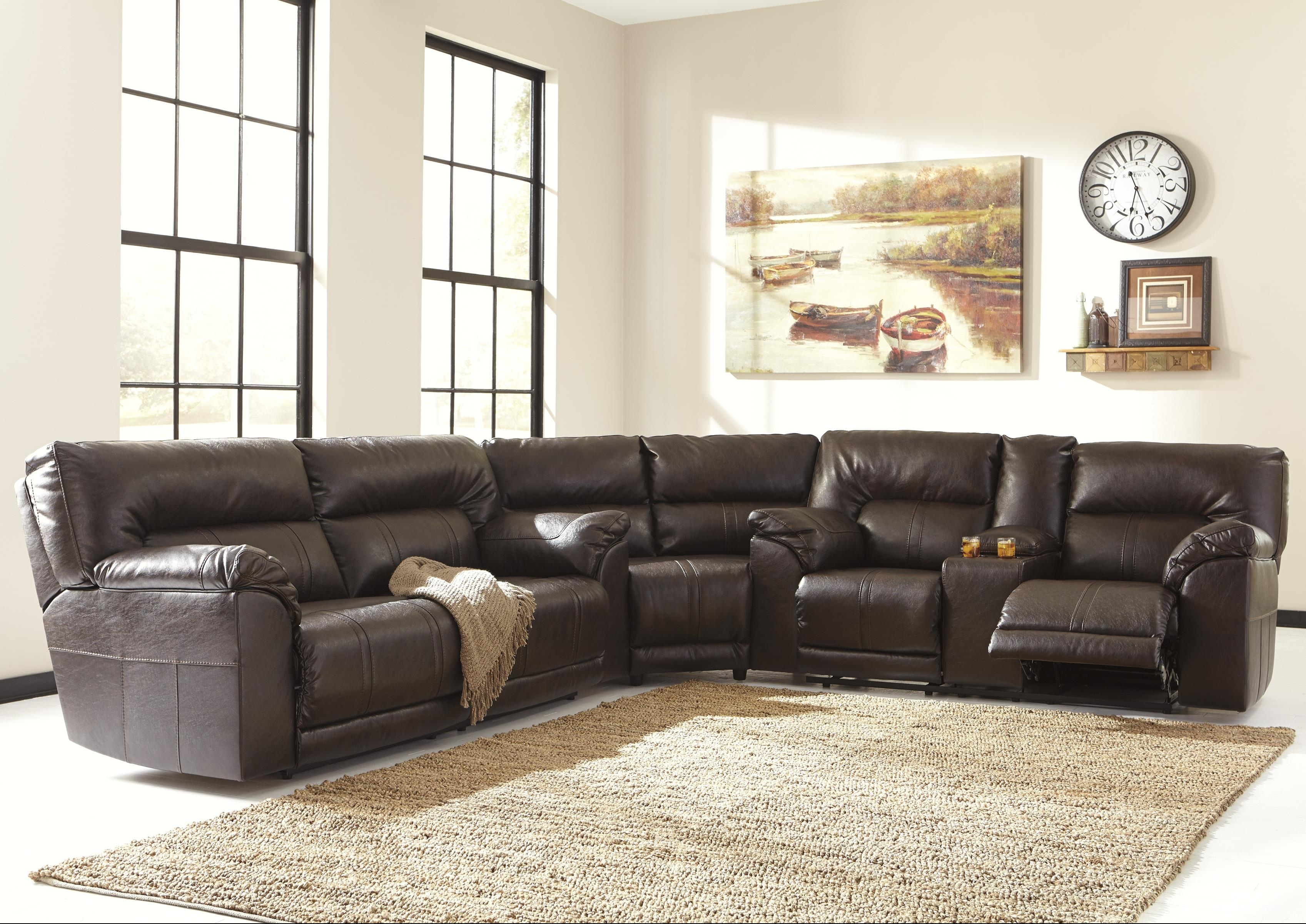 Benchcraftashley Barrettsville Durablend® 3-Piece Reclining pertaining to Sectional Sofas at Birmingham Al (Image 2 of 15)