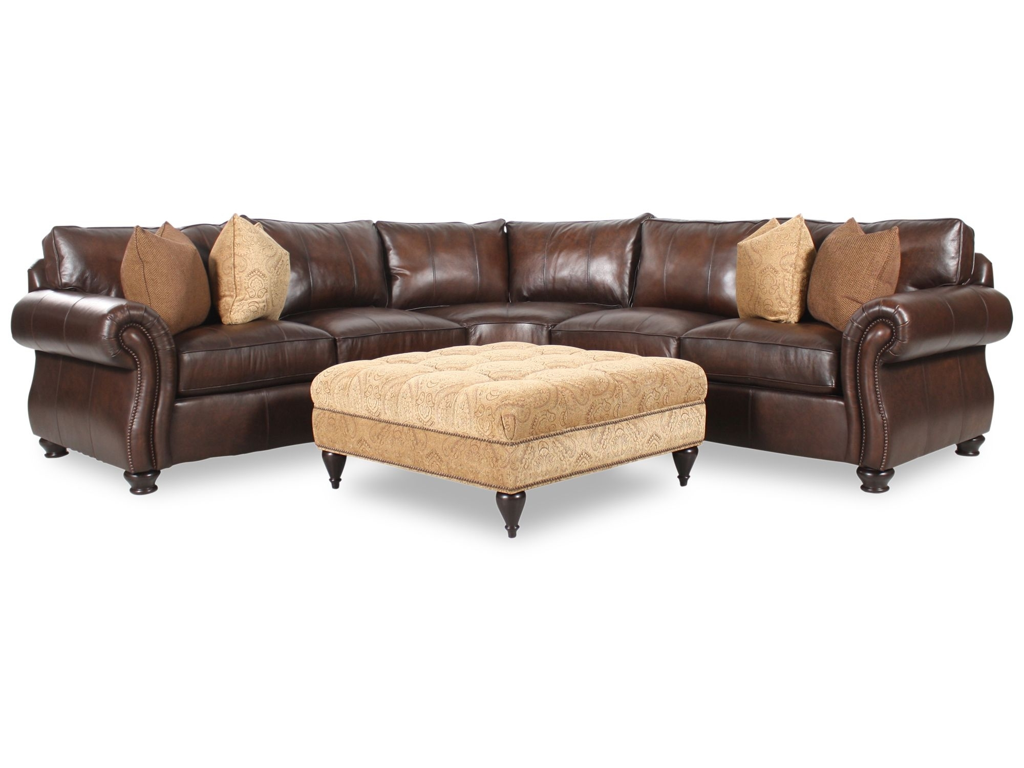 Bernhardt Van Gogh Two Piece Leather Sectional With Square Fabric Regarding Leather Sectional Sofas With Ottoman (View 10 of 15)