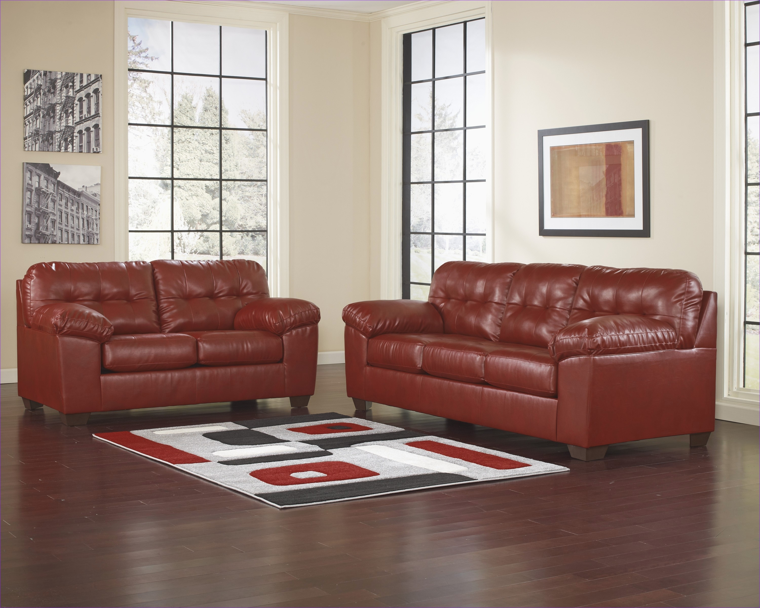 Best Red Leather Couches Ashley Furniture | Sofa And Couch Collection with regard to Red Leather Couches And Loveseats (Image 2 of 15)
