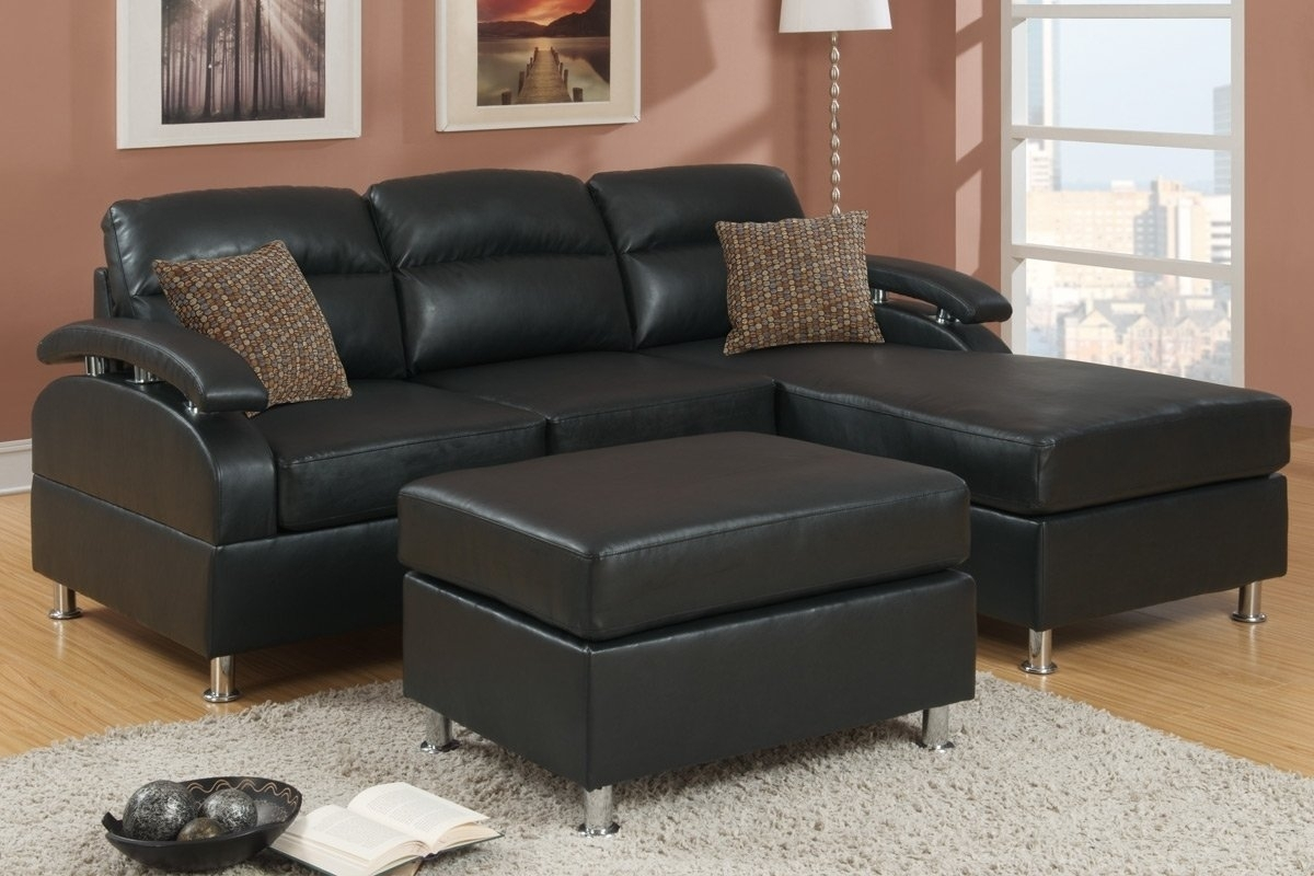 Black Bonded Leather Sectional Sofa With Ottoman F7685 Throughout Pertaining To Leather Sectional Sofas With Ottoman (View 6 of 15)