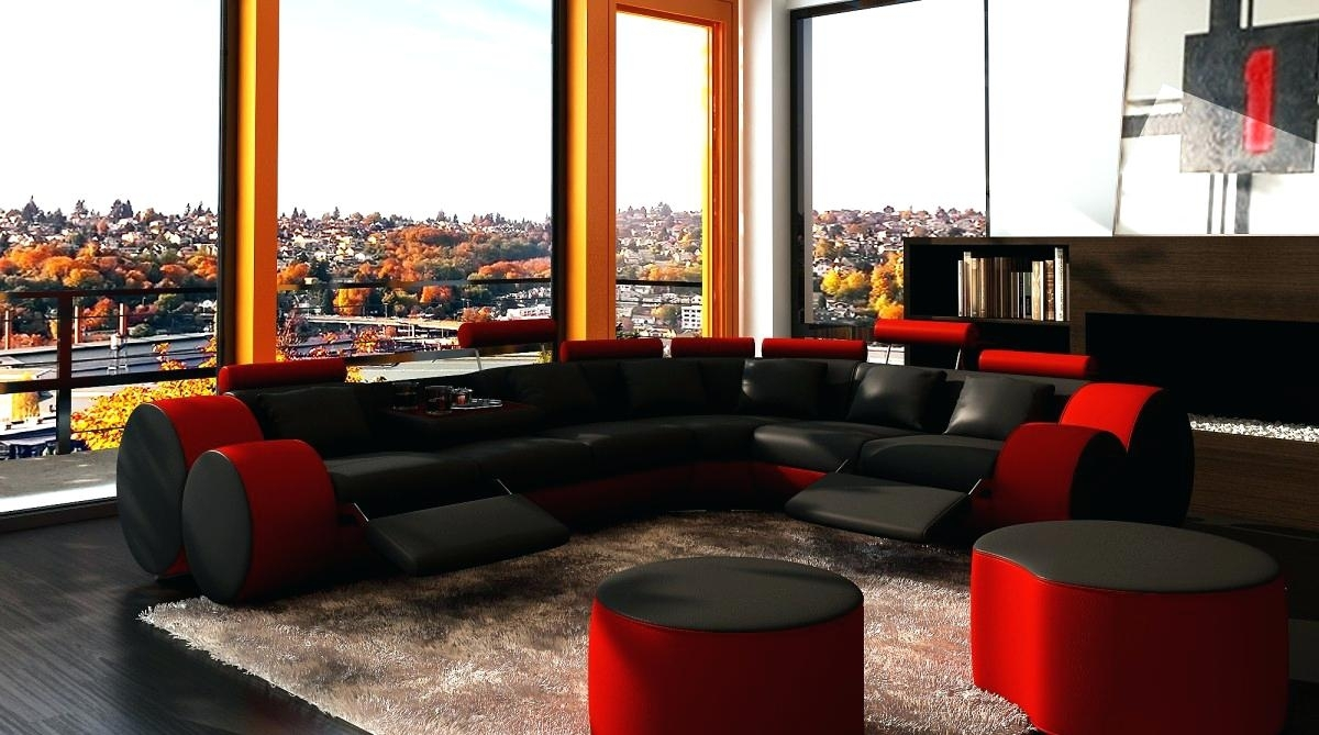 Black Sectional Couch Microfiber Sofa With Chaise Leather Cheap With Regard To Red Black Sectional Sofas (View 10 of 10)
