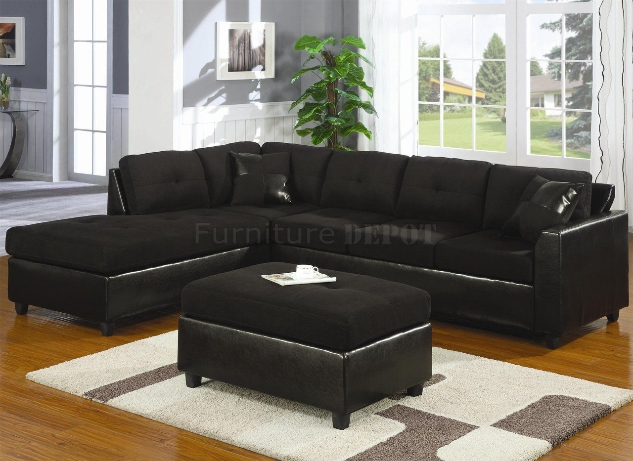 Black Sectional Sofas | Microfiber & Faux Leather Contemporary in Black Leather Sectionals With Ottoman (Image 4 of 15)