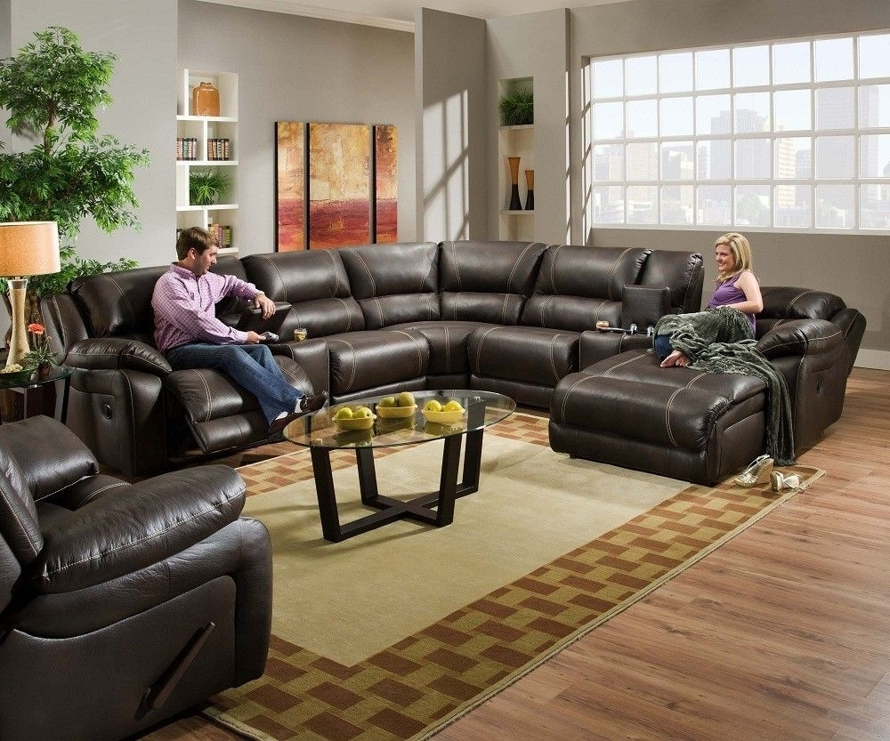 Blackjack Simmons Brown Leather Sectional Sofa Chaise Lounge Theater Within Grand Furniture Sectional Sofas (View 7 of 10)