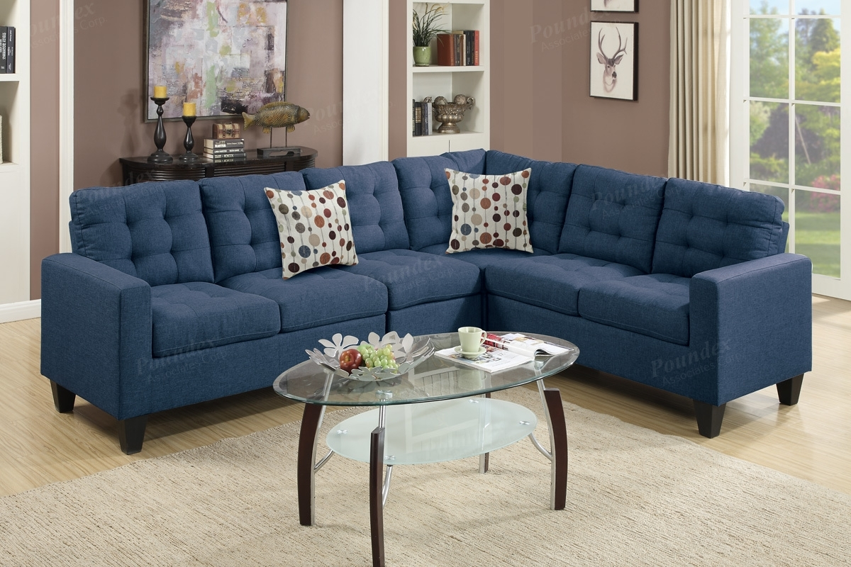 Blue Fabric Sectional Sofa - Steal-A-Sofa Furniture Outlet Los within Blue Sectional Sofas (Image 5 of 15)