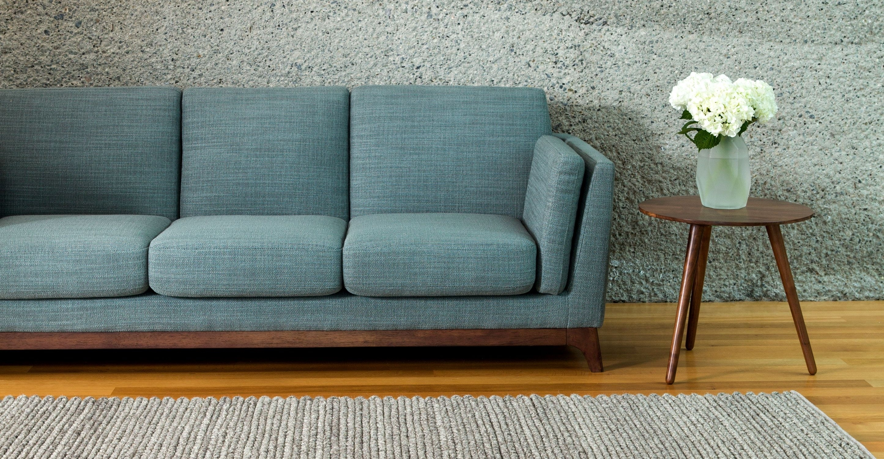 Blue Sofa 3 Seater With Solid Wood Legs | Article Ceni Modern with Aqua Sofas (Image 4 of 10)