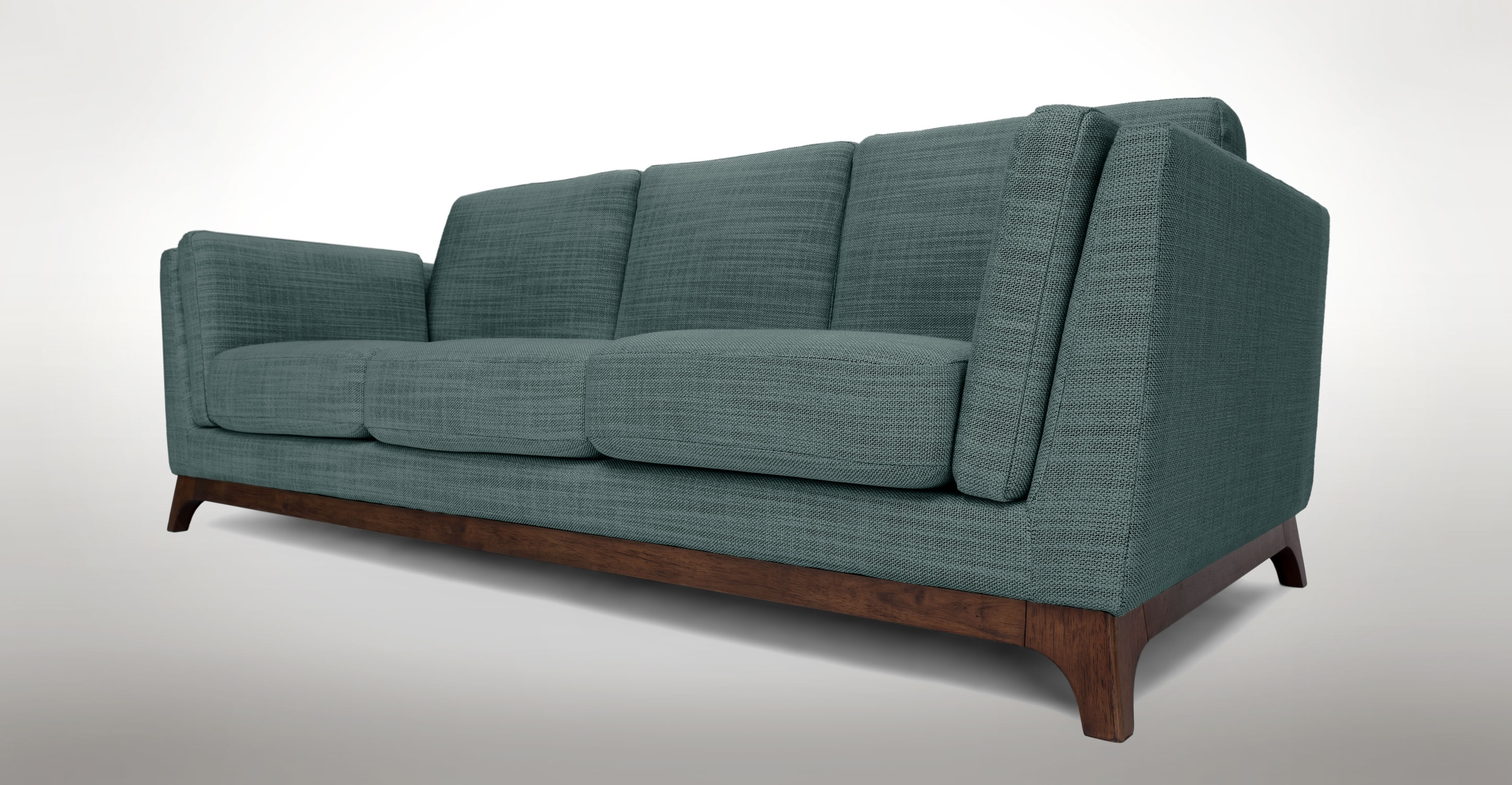 Blue Sofa 3 Seater With Solid Wood Legs | Article Ceni Modern within Aqua Sofas (Image 5 of 10)