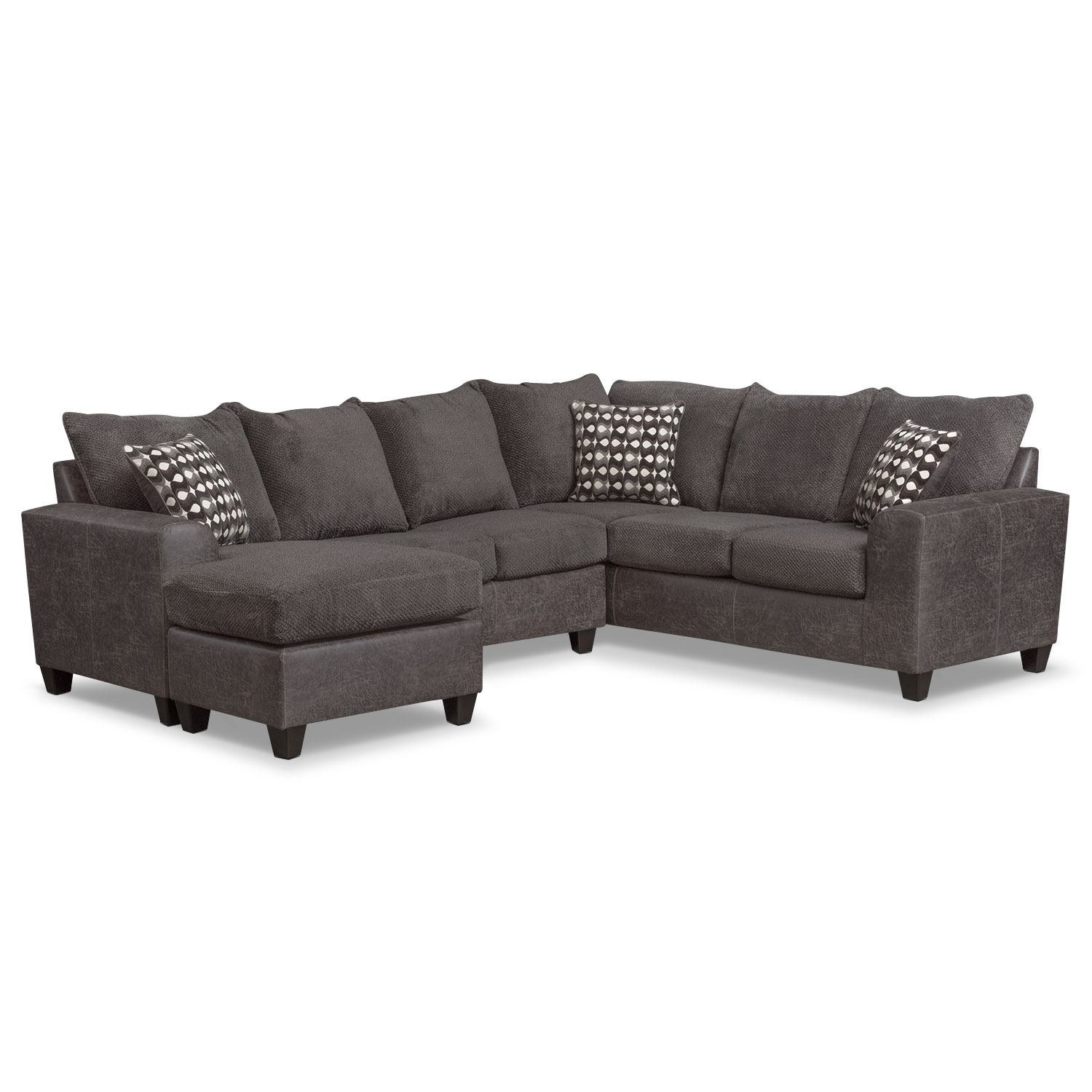 Brando 3 Piece Sectional With Modular Chaise – Smoke | Value City Regarding Value City Sectional Sofas (View 7 of 10)