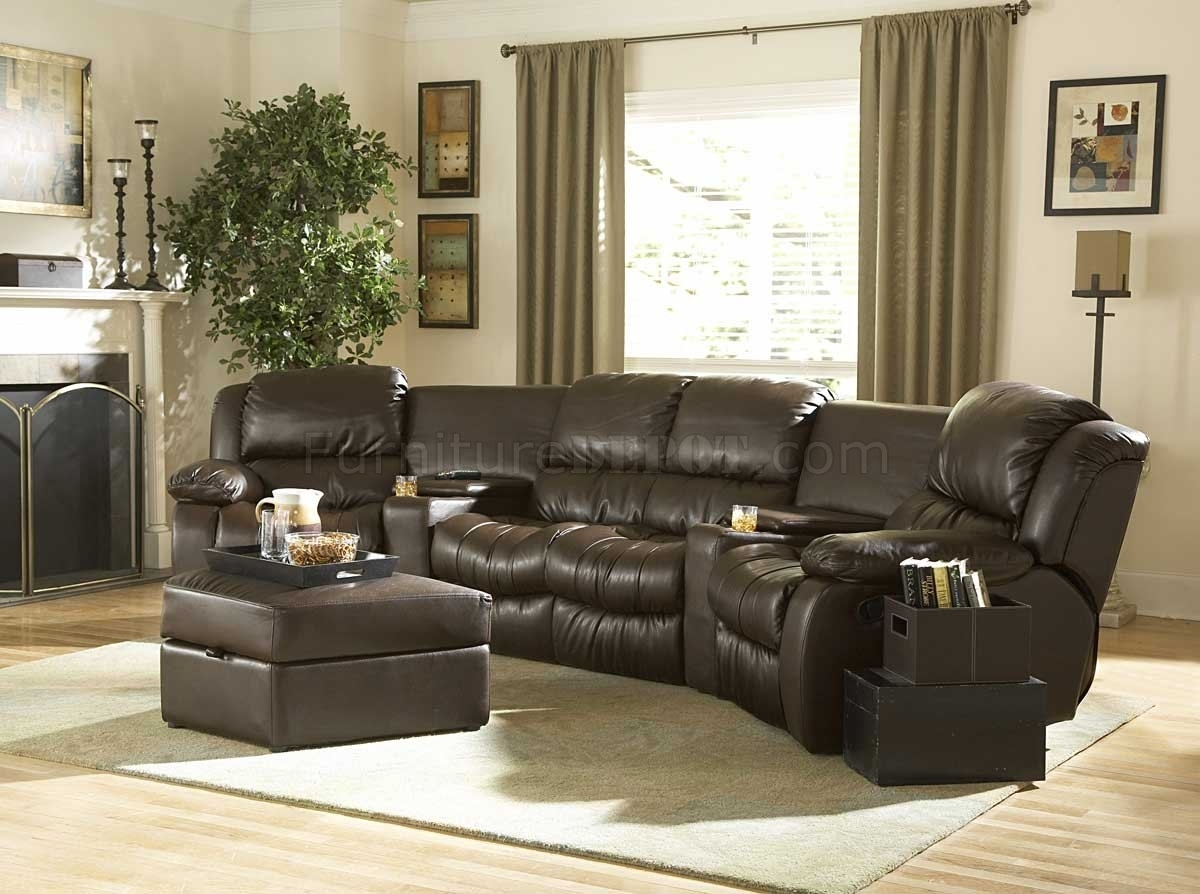Brown Bonded Leather Home Theater Recliner Sectional Sofa with Everett Wa Sectional Sofas (Image 2 of 10)