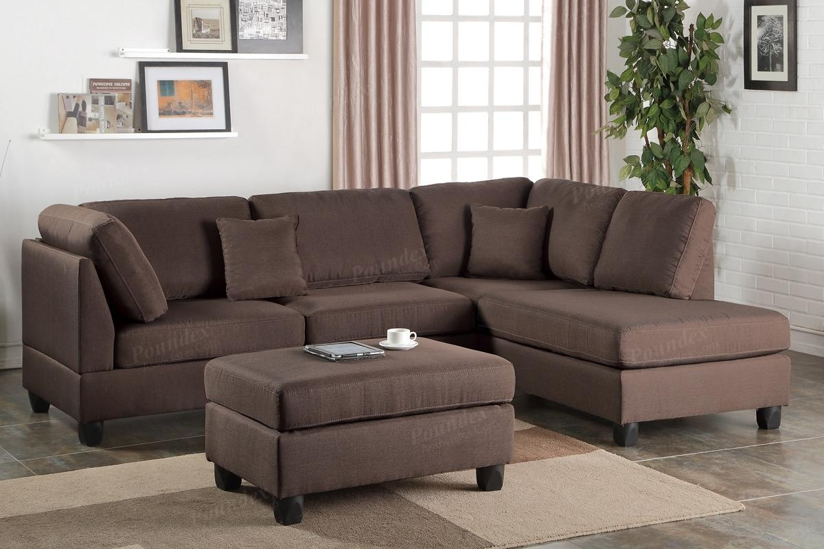 Brown Fabric Sectional Sofa And Ottoman – Steal A Sofa Furniture With Regard To Sectional Sofas With Ottoman (View 2 of 15)