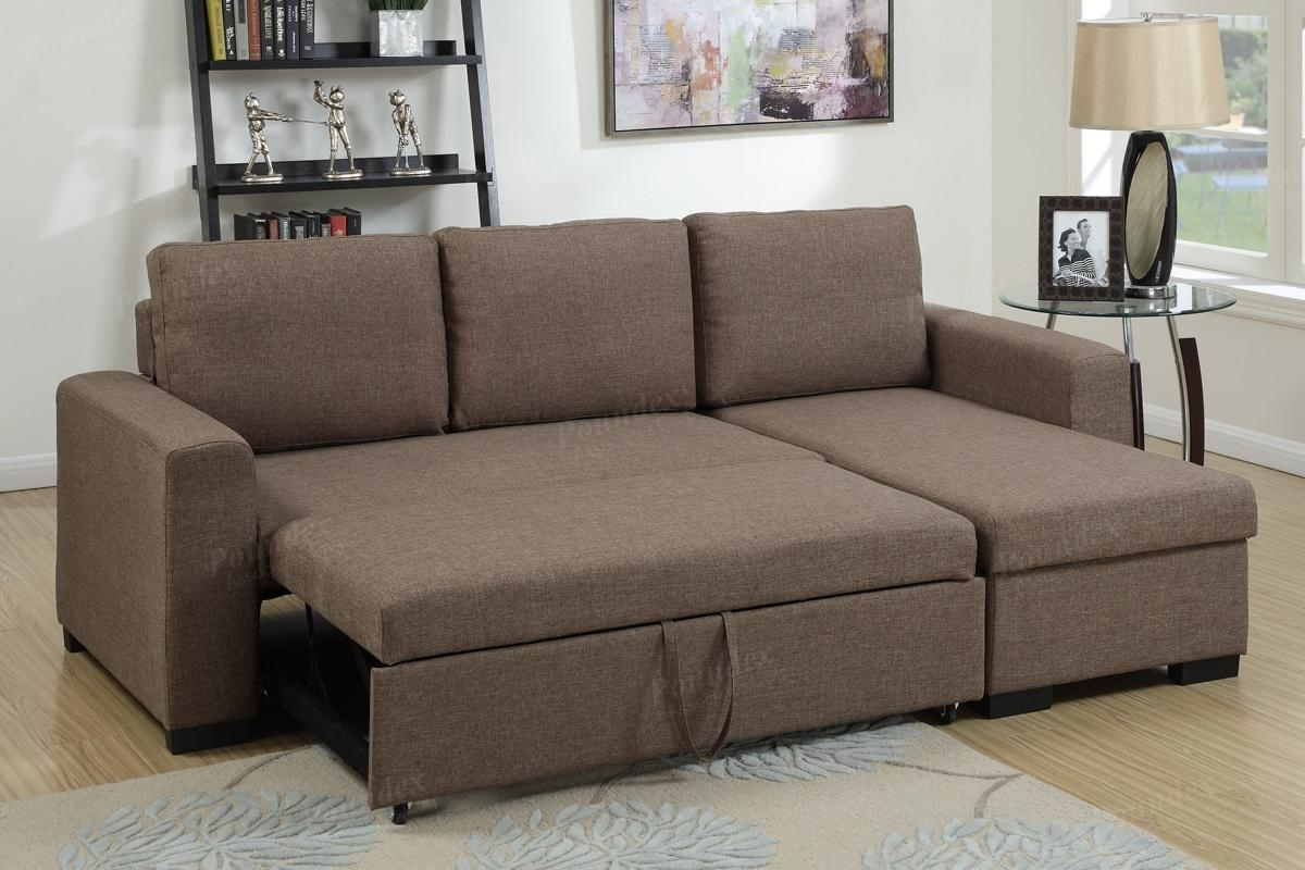 Brown Fabric Sectional Sofa Bed – Steal A Sofa Furniture Outlet Los Throughout Sectional Sofas That Turn Into Beds (View 2 of 10)