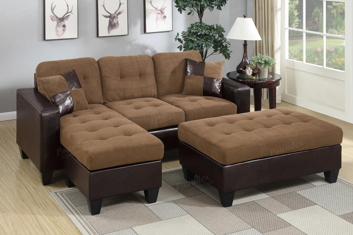 Brown Leather Sectional Sofa And Ottoman - Steal-A-Sofa Furniture for Sectionals With Ottoman (Image 5 of 15)