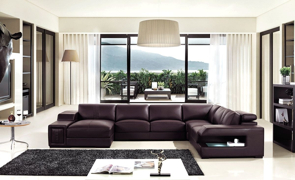 Brown Leather Sectional Sofa With Built In Coffee Table And Lights In Sectional Sofas In Charlotte Nc (View 1 of 10)