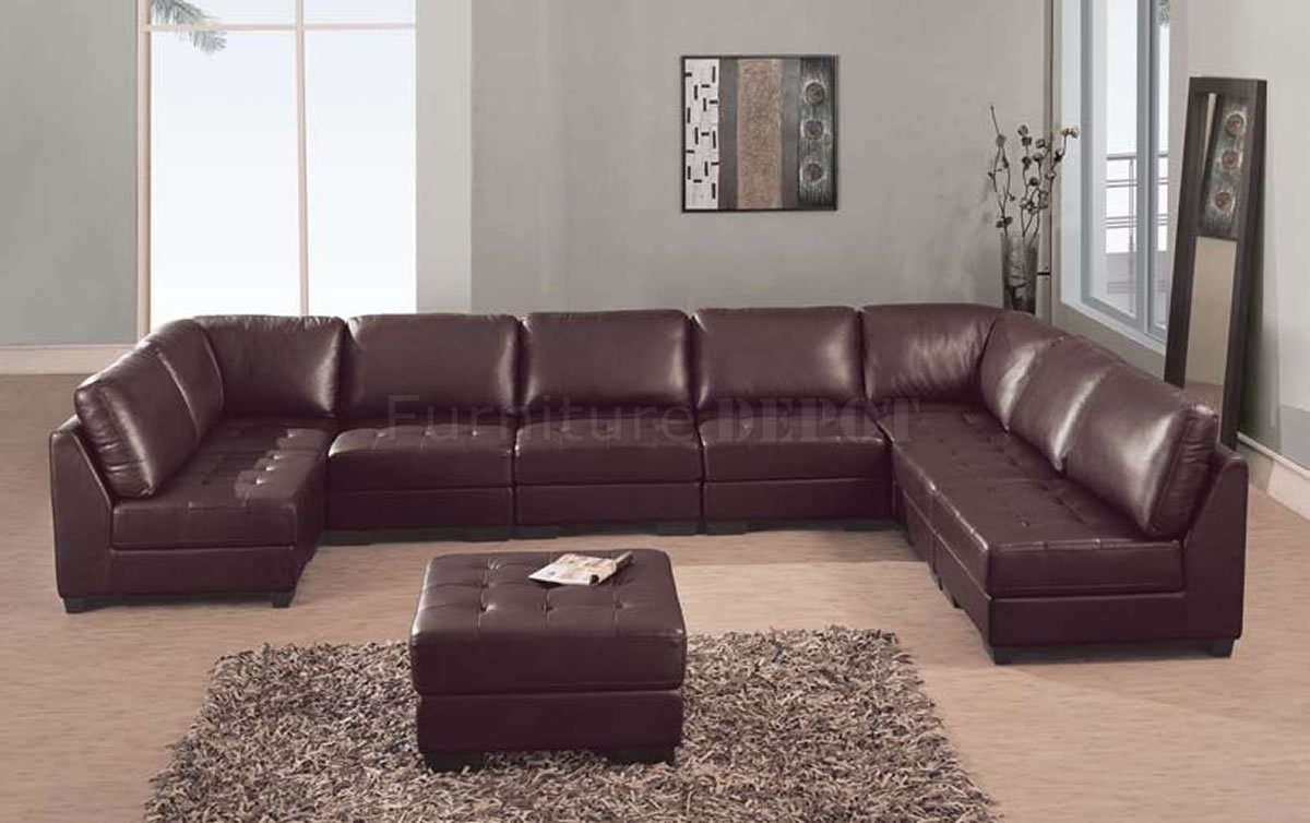 Brown Leather Sectional Sofas With Regard To Leather Sectional Sofas (View 9 of 10)