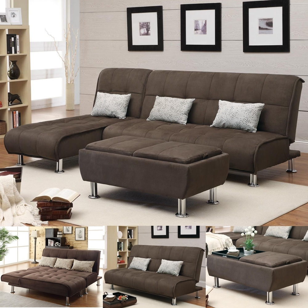 Brown Microfiber 3 Pc Sectional Sofa Futon Couch Chaise Bed Sleeper Intended For Sectional Sleeper Sofas With Ottoman (View 4 of 15)