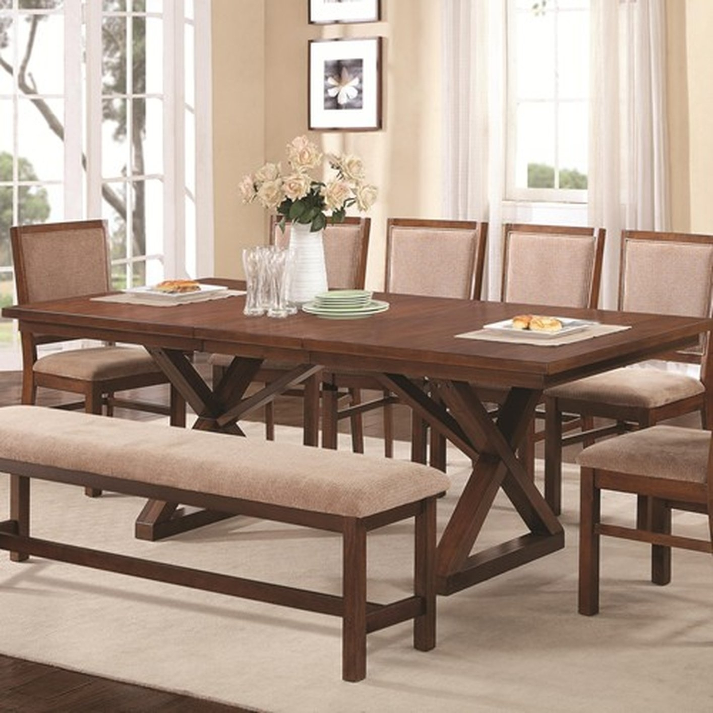 Brown Wood Dining Table - Steal-A-Sofa Furniture Outlet Los Angeles Ca intended for Sofa Chairs With Dining Table (Image 1 of 10)