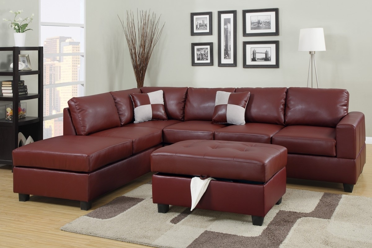 Burgundy Bonded Leather Sectional Sofa With Reversible Chaise Free Regarding Leather Sectional Sofas With Ottoman (View 3 of 15)
