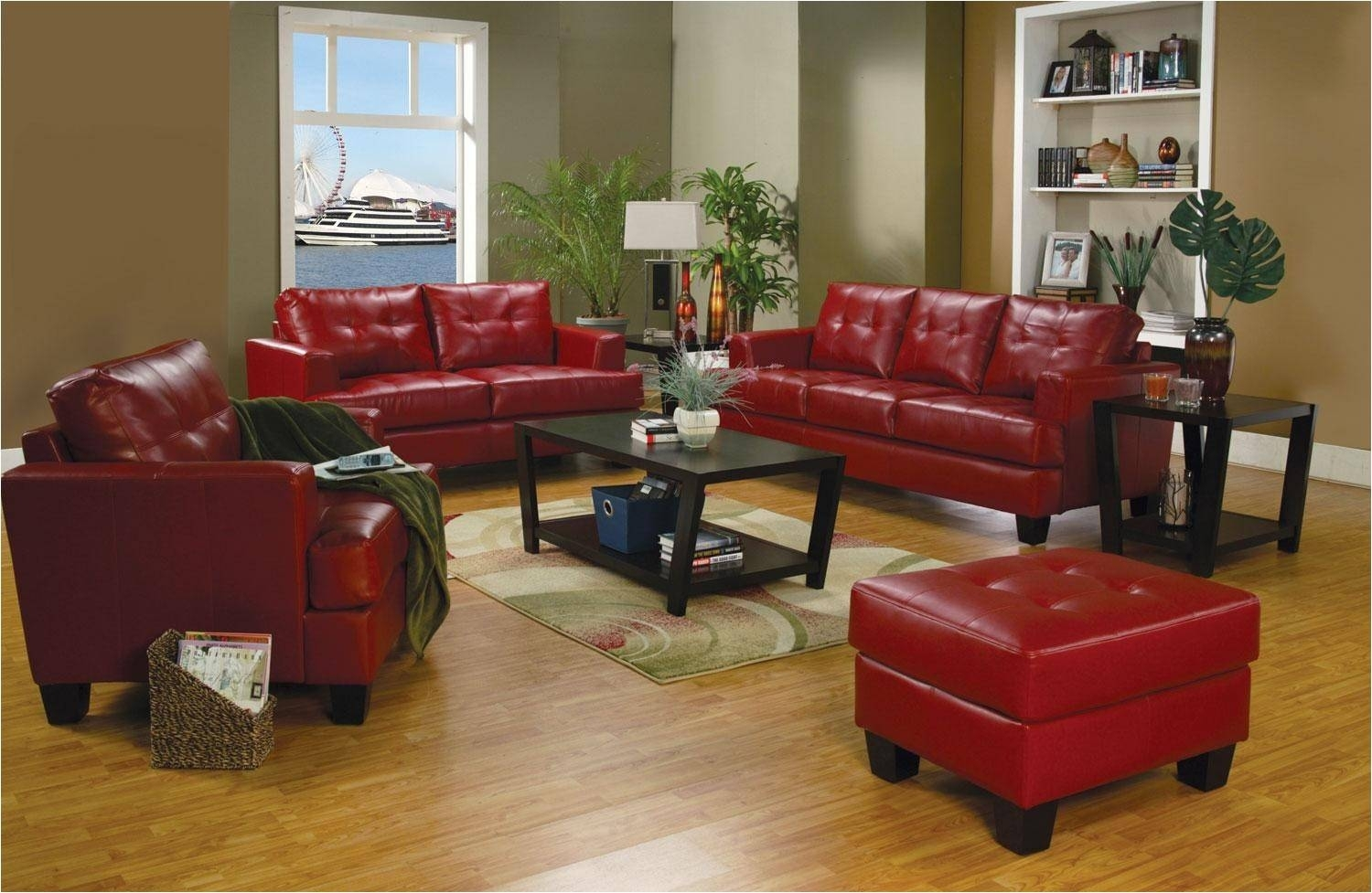 Burgundy Leather Couch And Loveseat Red Sectional Red Leather Living regarding Red Leather Couches and Loveseats (Image 3 of 15)