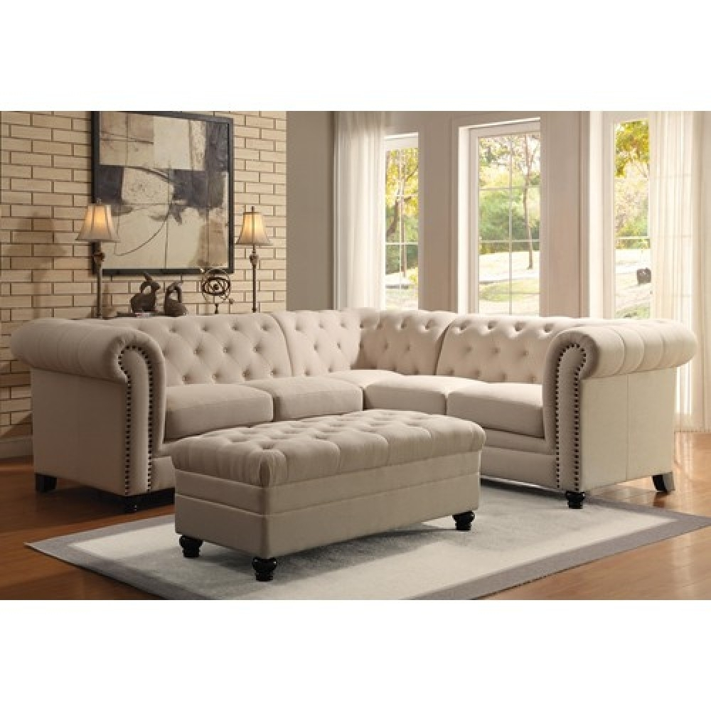 Button-Tufted Sectional Sofa regarding Tufted Sectional Sofas (Image 2 of 10)