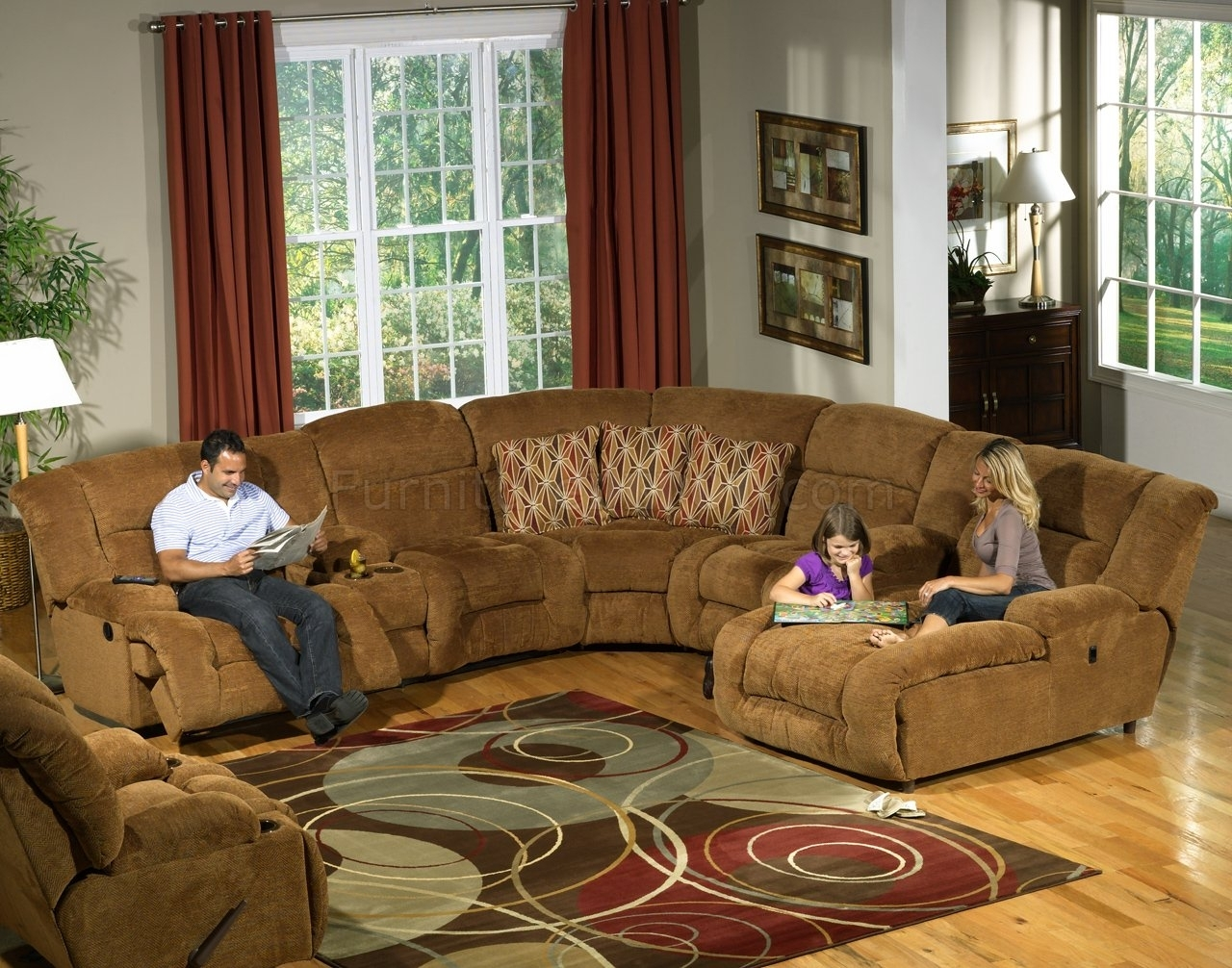 Camel Fabric Enterprise 4Pc Reclining Sectional Sofa W/options regarding Camel Sectional Sofas (Image 3 of 10)