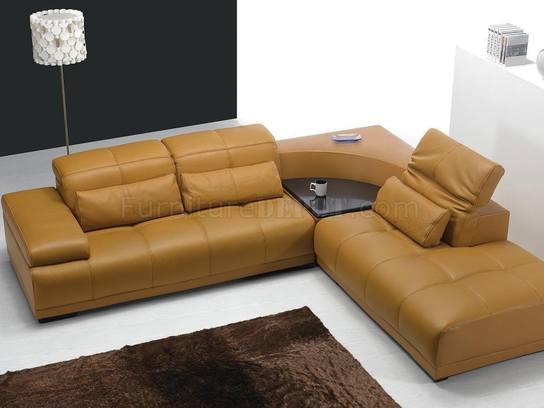 Camel Leather Modern Sectional Sofa 697 in Camel Sectional Sofas (Image 4 of 10)