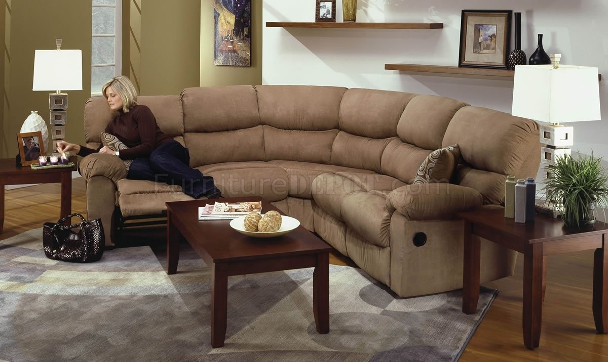 Camel Microfiber Reclining Sectional Sofa W/throw Pillows for Reclining Sectional Sofas (Image 4 of 10)