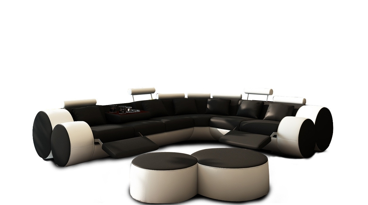 Casa 3087 - Modern Black And White Leather Sectional Sofa & Ottomans in Black Leather Sectionals With Ottoman (Image 5 of 15)