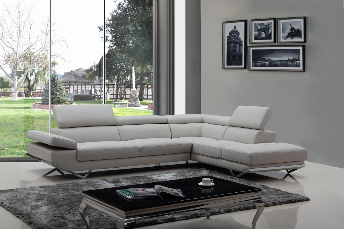Casa Quebec Modern Light Grey Eco-Leather Sectional Sofa with regard to Light Grey Sectional Sofas (Image 4 of 10)