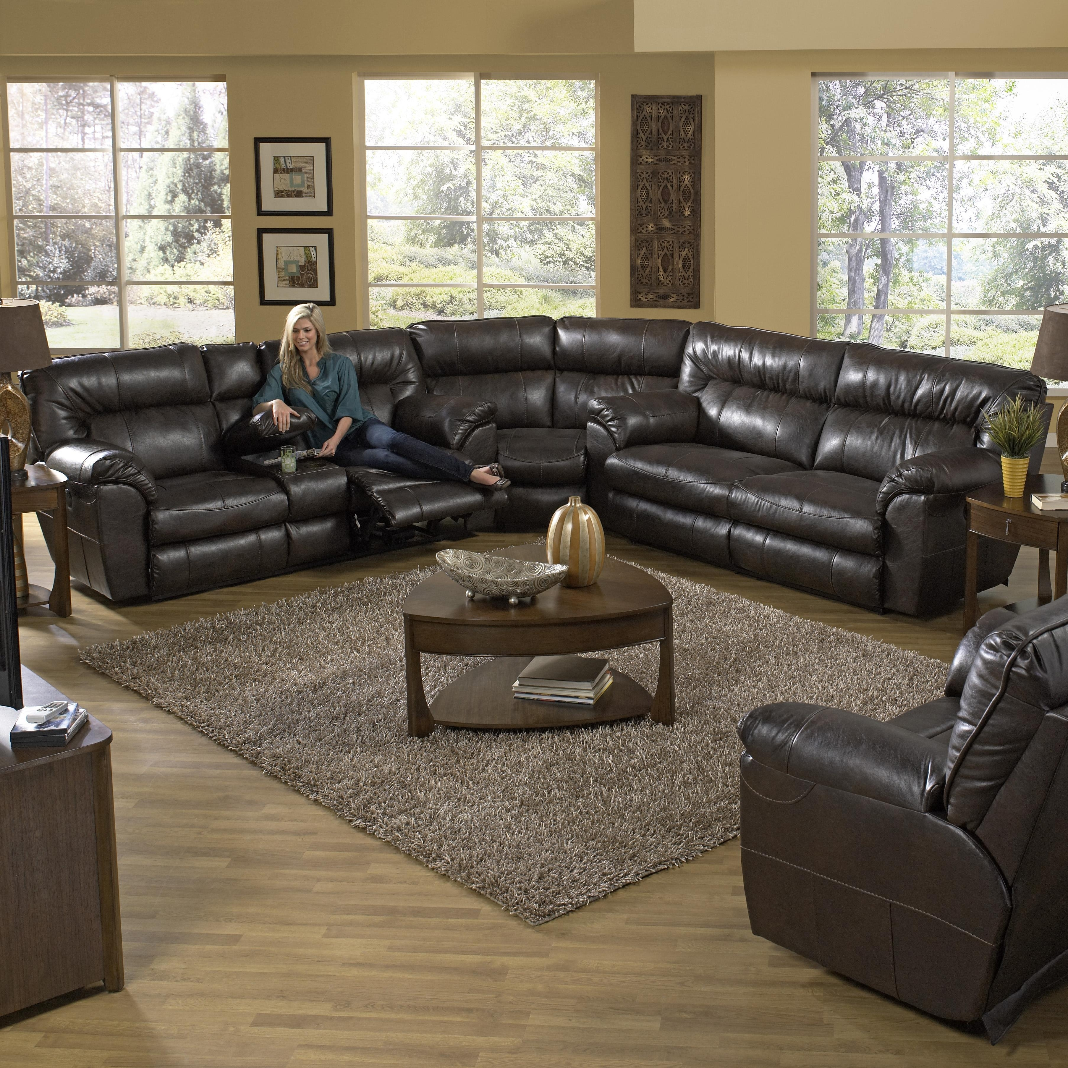 Catnapper Nolan Reclining Sectional Sofa With Left Console intended for Jacksonville Nc Sectional Sofas (Image 2 of 10)