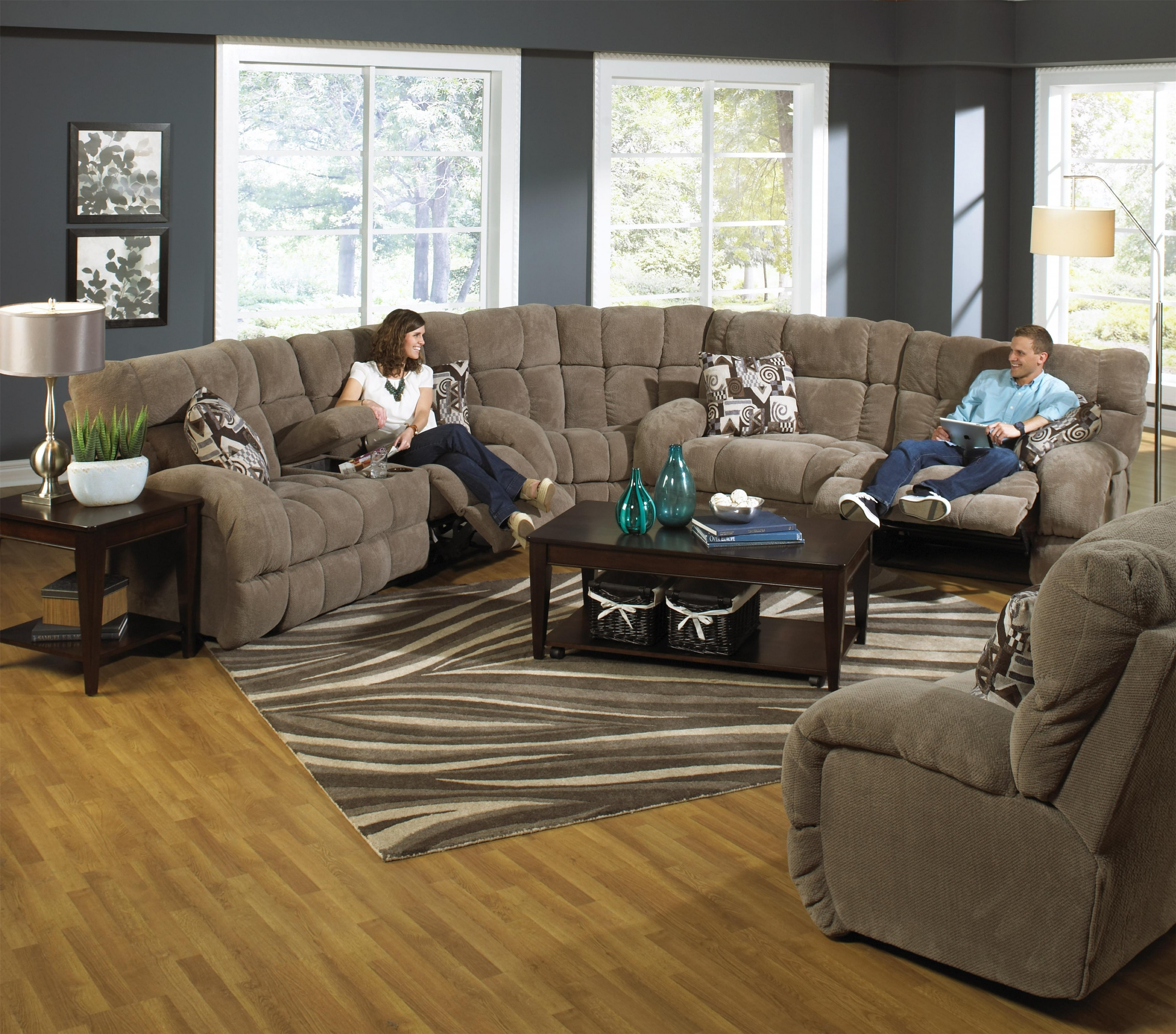 Catnapper Siesta Power Reclining Sectional Sofa With Cup Holders throughout Sectional Sofas With Cup Holders (Image 3 of 10)