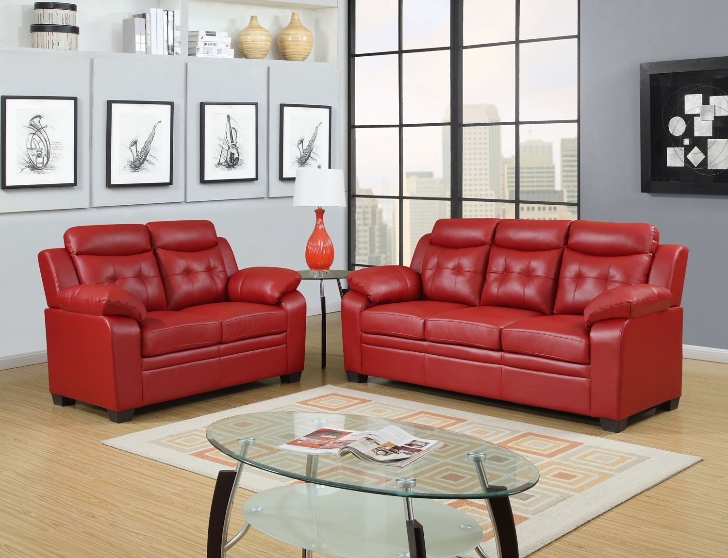 Cheap Red Leather Sofa - Radiovannes pertaining to Red Leather Couches (Image 1 of 15)