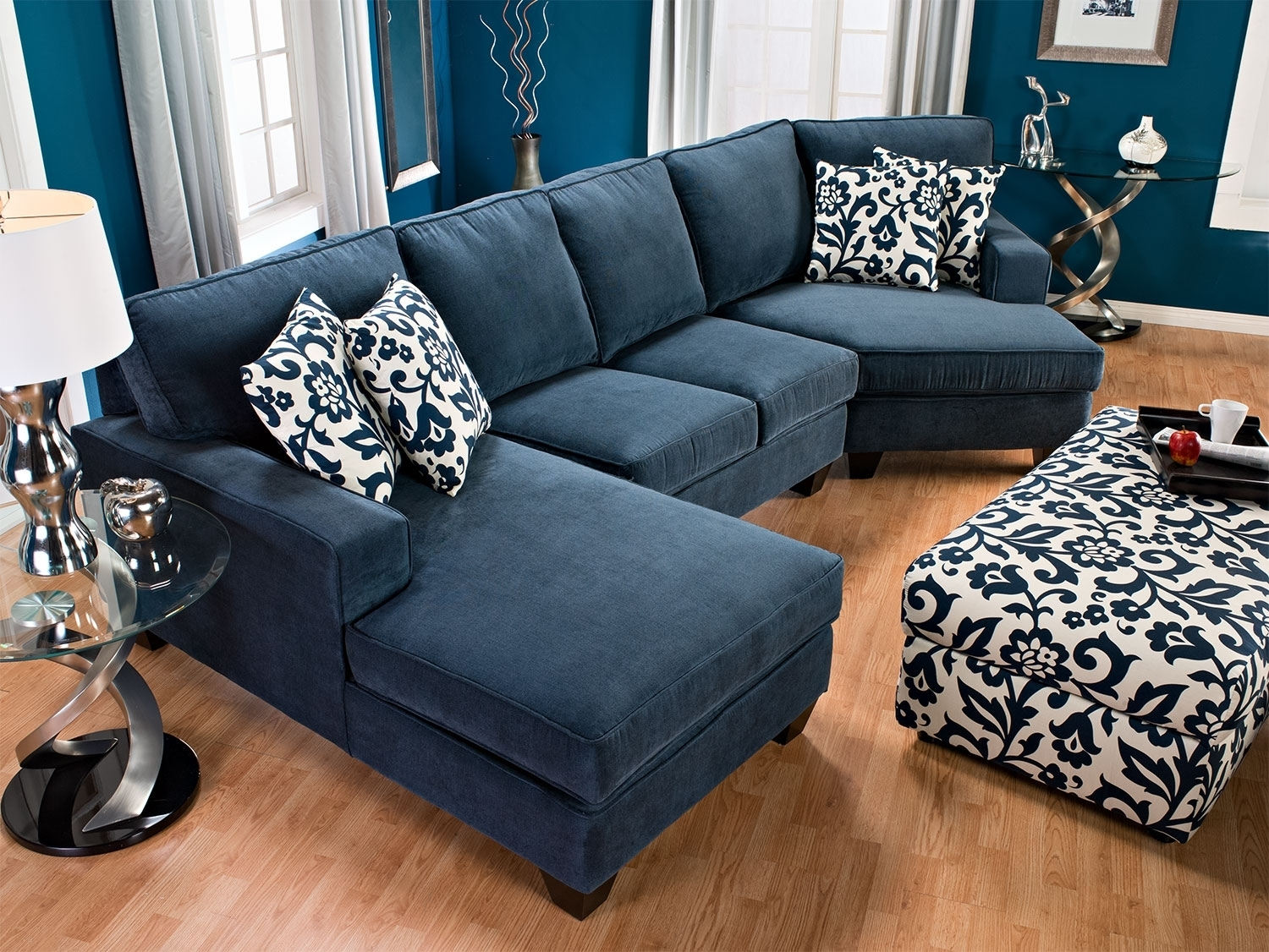 Chenille Sectional Sofa With Chaise | Www.allaboutyouth within Sectional Sofas At Brick (Image 6 of 15)