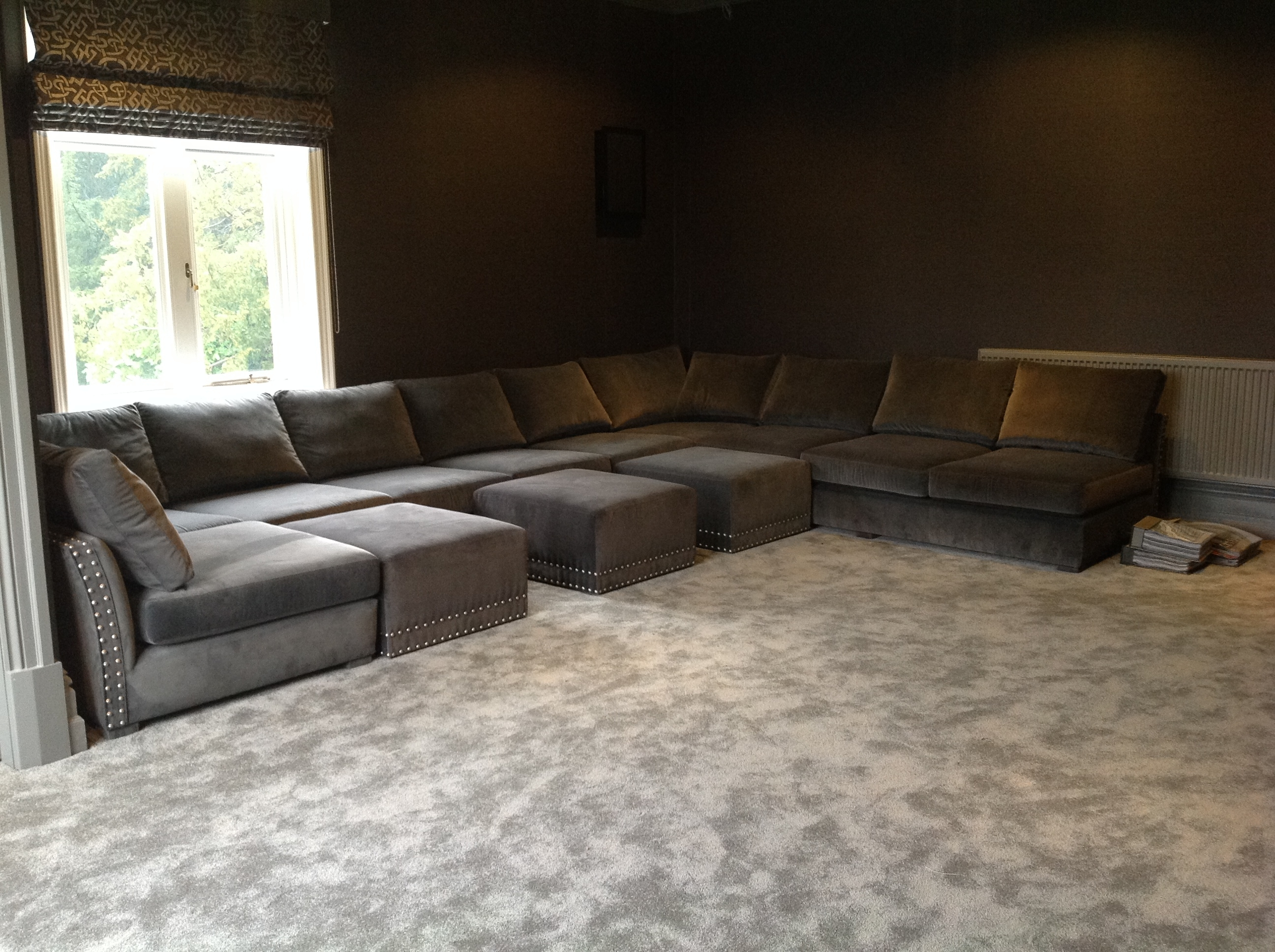 Cinema U Shape Sofa - Deep And Slouchy With Wheeled Pull Up Pouffes in Deep U Shaped Sectionals (Image 2 of 15)