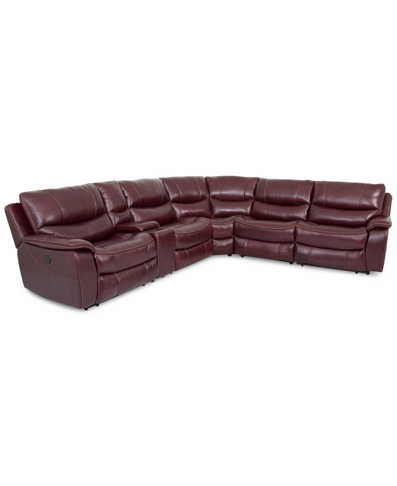 Closeout! Daren Leather 6 Pc Sectional Sofa With 3 Power Recliners Throughout Jedd Fabric Reclining Sectional Sofas (Image 5 of 10)