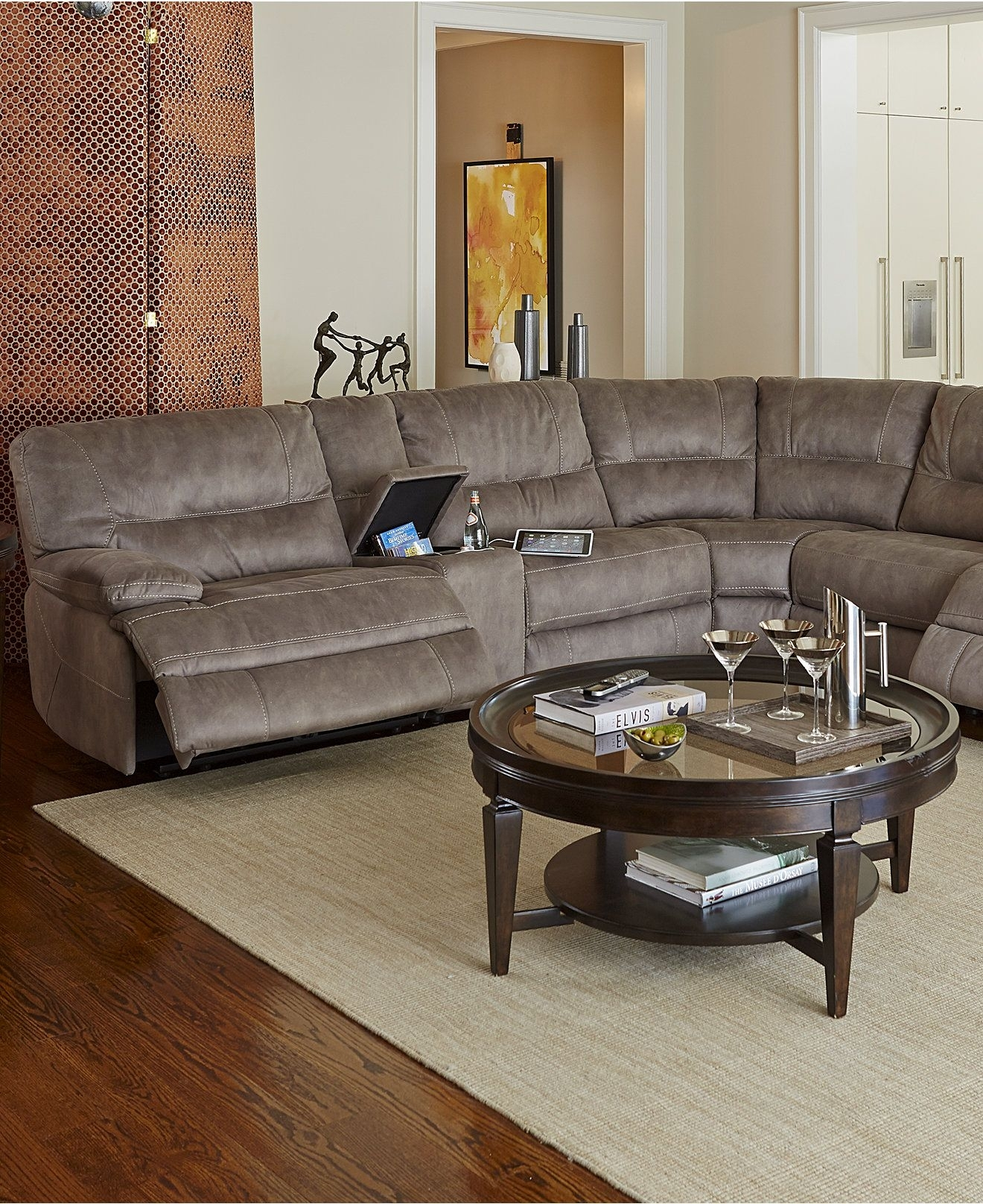 Closeout! Liam Fabric Power Reclining Sectional Sofa Collection Intended For Jedd Fabric Reclining Sectional Sofas (Image 6 of 10)