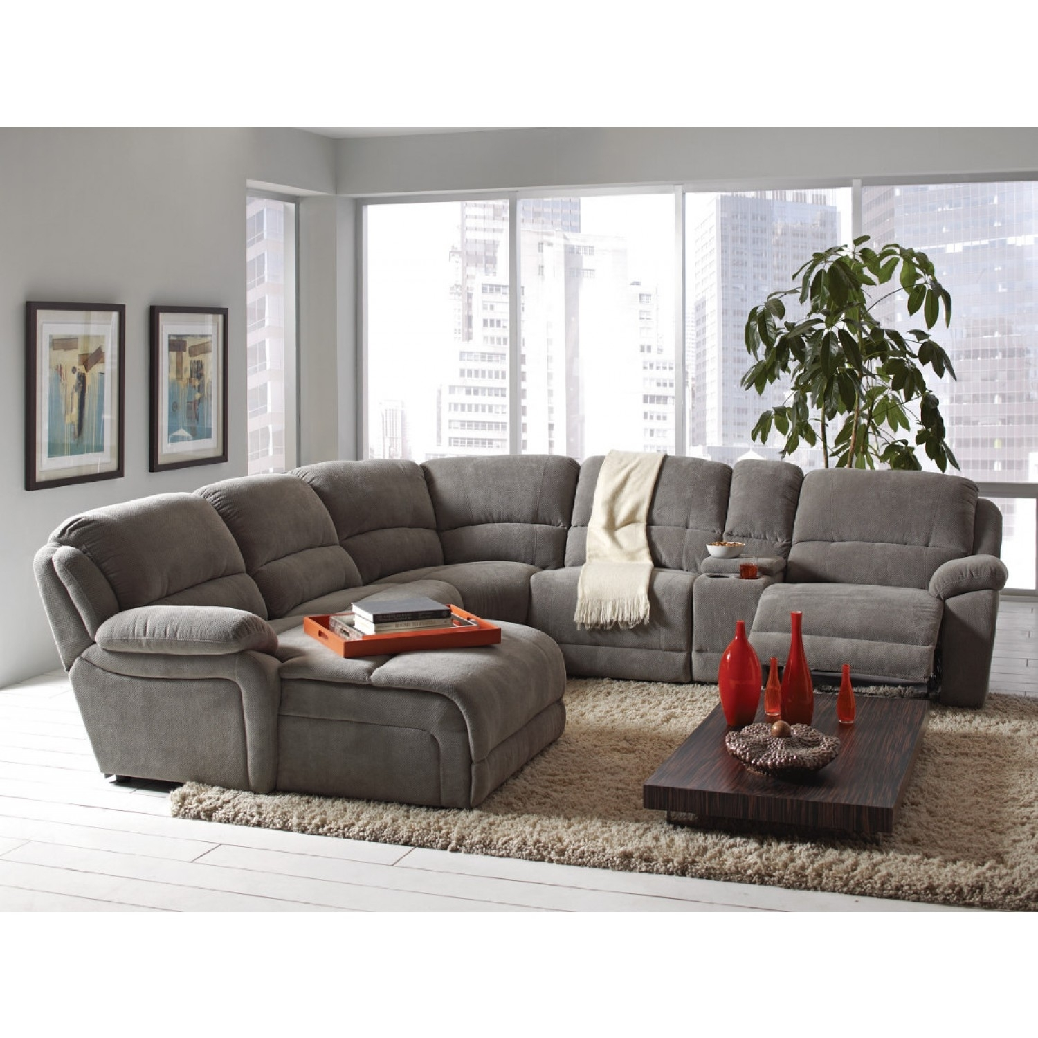 Coaster Mackenzie Silver 6 Piece Reclining Sectional Sofa With In Sectional Sofas That Come In Pieces (View 5 of 10)