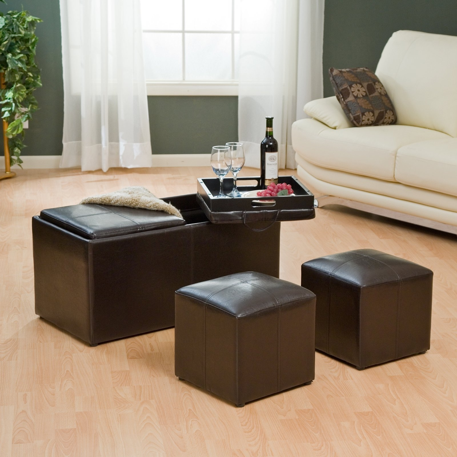 Coffee Table With Ottomans Tray — All Furniture : Get The Most Out Intended For Ottomans With Tray (View 2 of 15)