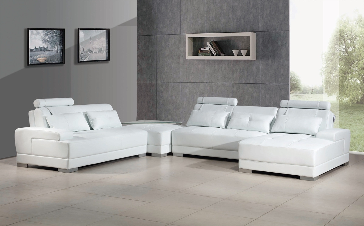 Contemporary White Leather Sectional Sofa W/ottoman With Leather Sectional Sofas With Ottoman (View 15 of 15)