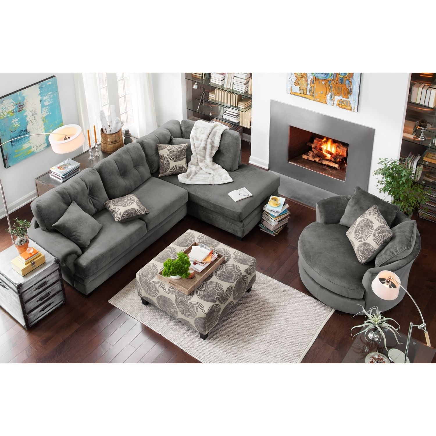 Cordelle 2 Piece Right Facing Chaise Sectional – Gray | City Regarding Value City Sectional Sofas (View 8 of 10)