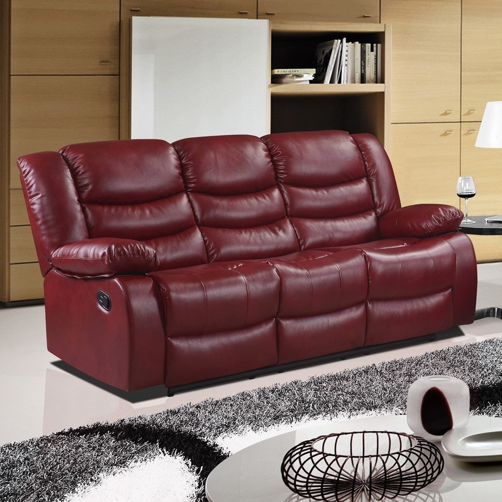 Cranberry Red Recliner Sofa Collection In Bonded Leather Throughout Red Leather Sofas (View 2 of 15)