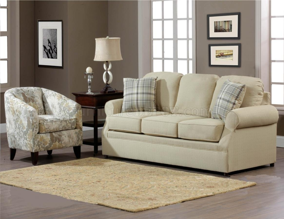 Cream Fabric Modern Sofa & Accent Chair Set W/options Regarding Sofa And Accent Chair Sets (View 6 of 10)