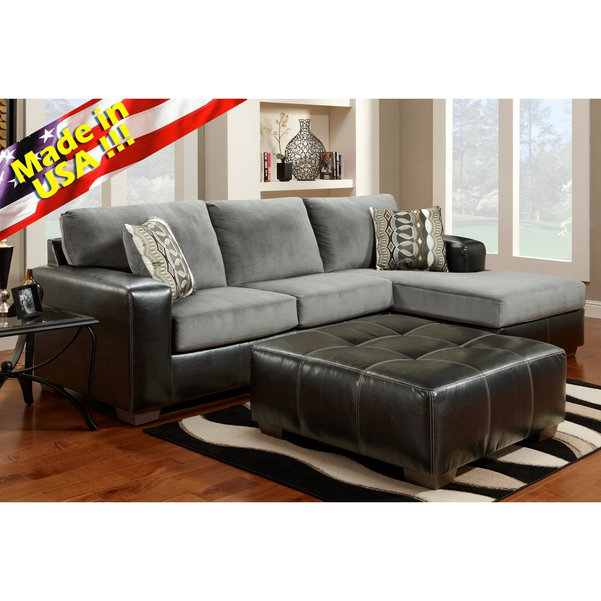 Cumulus Black Gray Two Toned Sectional Sofa Chaise Set, Made In Usa In Made In Usa Sectional Sofas (View 8 of 10)