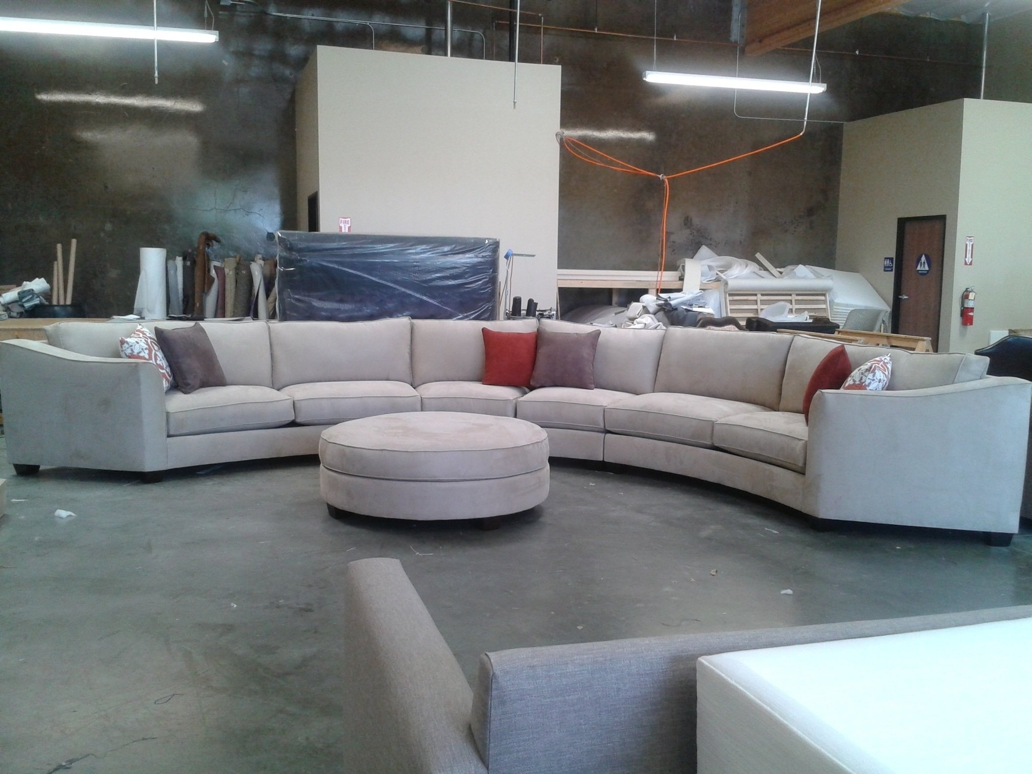 Curved Sectional Sofa Set Rich Comfortable Upholstered Fabric In with Circular Sectional Sofas (Image 3 of 10)