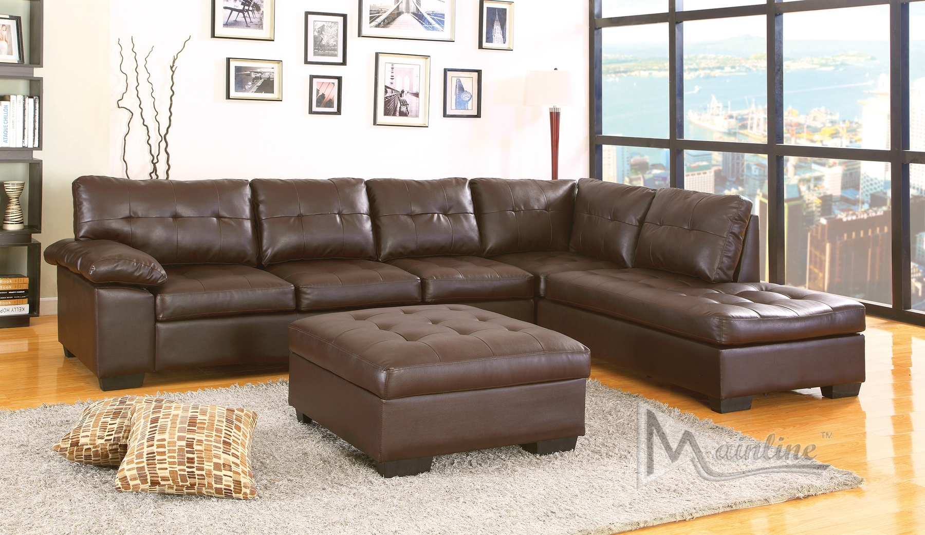 Dallas Chocolate Sectional Sofa 70130 Mainline Inc Sectional Sofas with regard to Chocolate Sectional Sofas (Image 4 of 15)